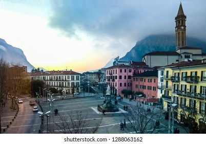 Lecco,Lombardy,Italy-06 March 2016: View from the top of the square in front of the Cathedral of Lecco