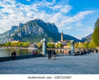 Lecco,Lombardy,Italy-19 April 2015 : This is the park entrance on the lakeside promenade of Lecco