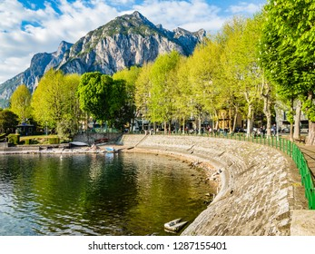 Lecco,Lombardy,Italy-19 April 2015 :This is the tree-lined boulevard along the Lake in Lecco