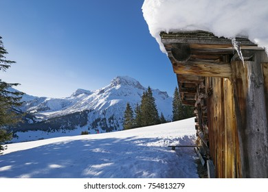 Lech at Arlberg with view to Omeshorn in Austria Arlberg region