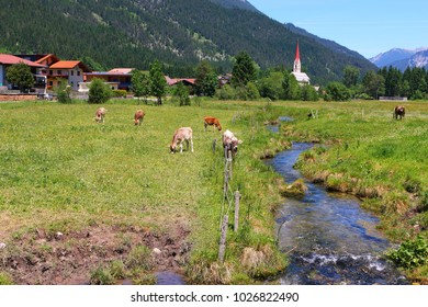 Lech valley cycle path from Steeg to Reutte, Tirol in Austria, alps, europe