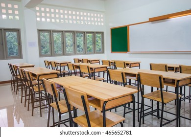 Lecture room or School empty classroom with desks wood, chalkboard, whiteboard in high school Thailand