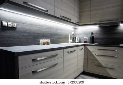 Led backlight in small kitchen with modern furniture