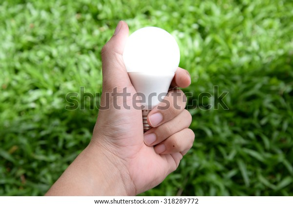 LED bulb on hand with lighting and grass background