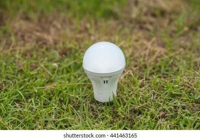 LED Bulbs are environmentally friendly energy alternative on the grass