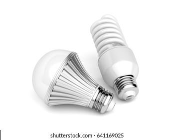 LED and CFL light bulbs on white background, 3D illustration