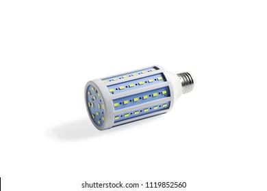 LED corn lamp. Close-up. Isolated on white background.