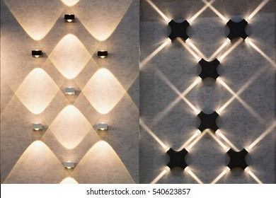 LED decoration lights idea on wall create shape with light and shadow.
