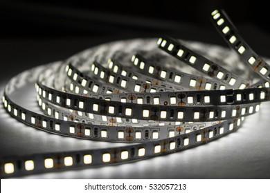 led diode stripe on black background