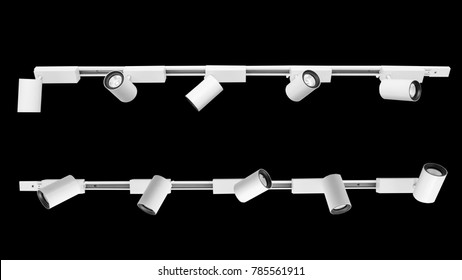 LED down light isolated on black background.