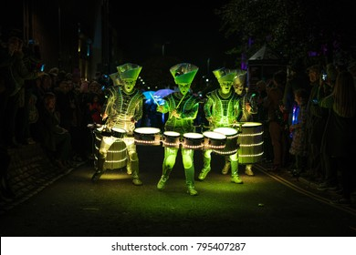 LED Drummers at Leeds Light Night 2017, UK. Festival of 2 nights showcasing multiple light-inspired installations in the city and a parade.