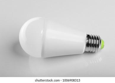 LED energy saving bulb. Light-emitting diode. On white.