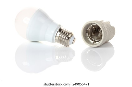 LED energy saving bulb on white