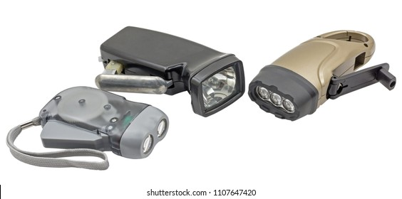 Led flashlights with manual recharging on white background