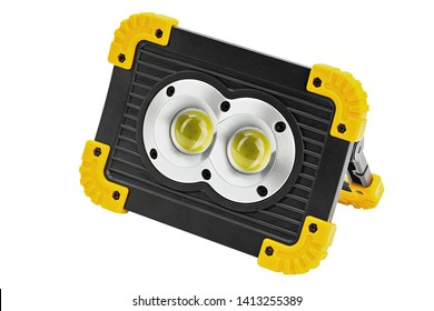 led floodlight spotlight battery recharge portable isolate on white background. File contains space for text