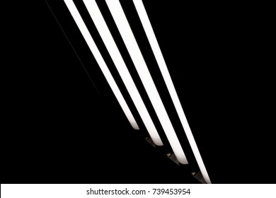 LED fluorescent light tubes on black background. Professional lighting equipment for photo or video production.