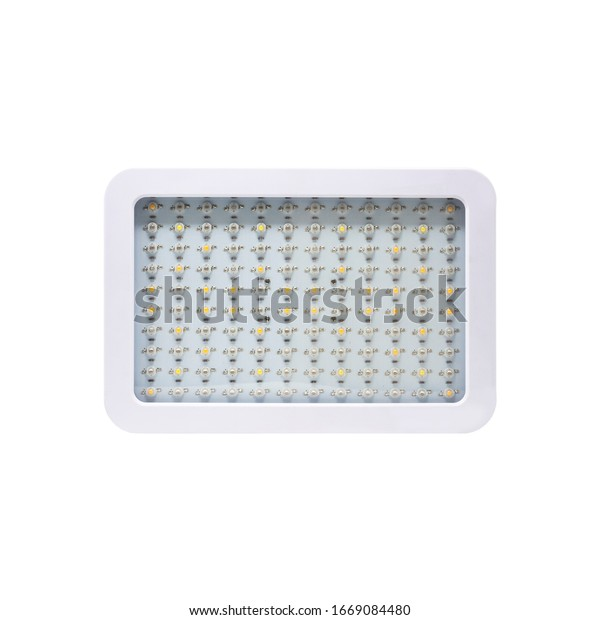 LED grow light panel isolated on a white background. Indoor grow light for medical plants and greenhouse. Front view