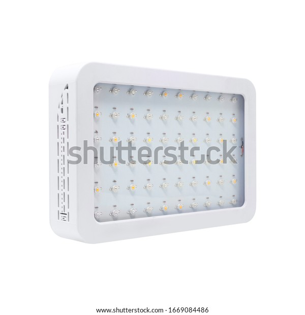 LED grow light panel isolated on a white background. Indoor grow light for medical plants and greenhouse. side view.