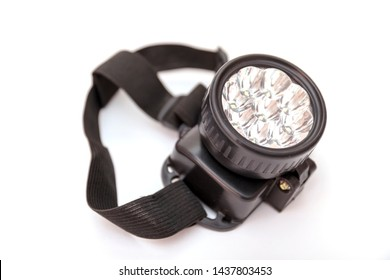 LED headlamp on isolated white background