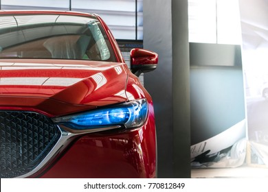 Led headlight car for customers. Using wallpaper or background for transport and automotive image.