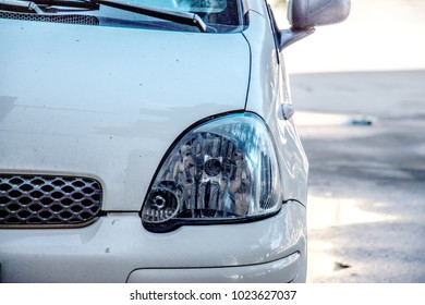 led headlight of car, image close-up part of automobile