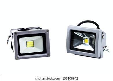 LED industrial searchlights isolated on a white background