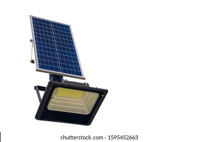 the LED lamp is charged from the solar battery, Eco friendly Autonomous Led street light projector with solar panel for daytime charging, isolated