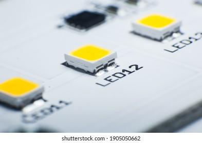 LED Lamp Chip. LED Diode. LED lamp close-up.