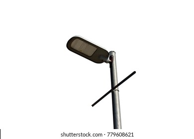 Led lamp on street with white background