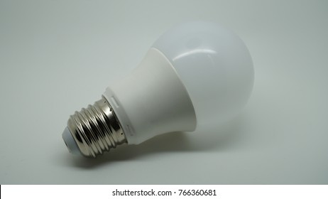 Led lamp on white background ecologicaly friendly with low consumption