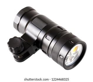 LED lamp, underwater, anodized aluminum, on a white background, black.