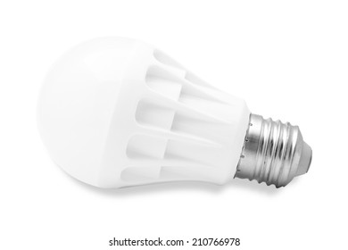 LED lamp with a white flask on a white background. It is isolated, the worker of paths is present.