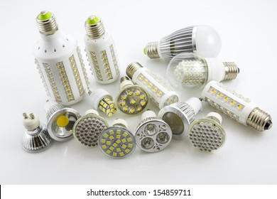 LED lamps GU10 and E27  with a different chip technology also construction, different lamp power and cover glass