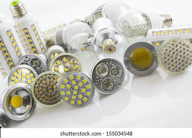 LED lamps GU10 and E27  with a different chip technology different lamp power and cover glass