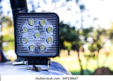 LED lamps mounted on the vehicle.