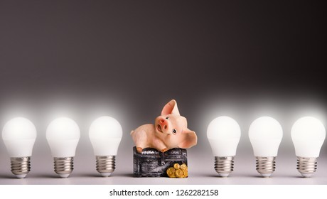 Led lamps and piggy bank lie on a white background