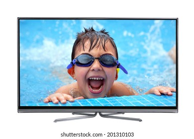 Led lcd tv showing a high picture quality of a happy boy swimming. isolated on white