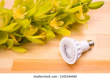 LED light bulb beside orchid flowers on wood table