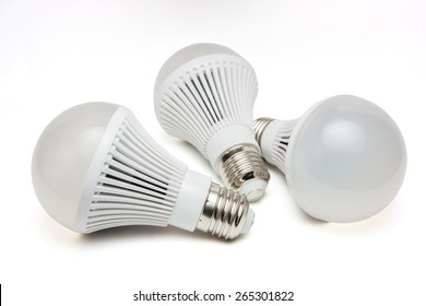 LED light bulbs on a white background.