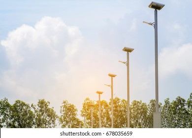 LED light post with solar cell panel used on the street,industrial estate