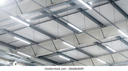 led lighting - big warehouse - energy saving    production hall