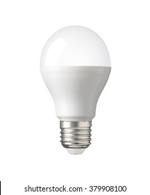 LED, New technology light bulb isolated on white background, Energy super saving electric lamp is good for environment. Realistic photo image with clipping path