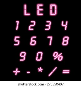 Led numbers pink on a black background