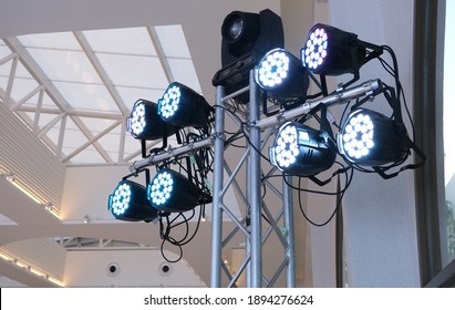 LED PAR lights hanging on a truss at event professional lighting device colored equipment - Shutterstock ID 1894276624