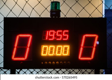 LED Score Board Panel in the Indoor Soccer Field at the Night Time