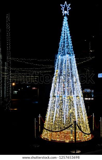 Led Strings Lights Christmas Tree Outdoor Stock Photo Edit