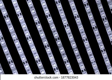 LED strip lights on black background
