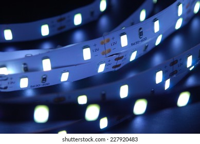Led stripe is isolated on the black background