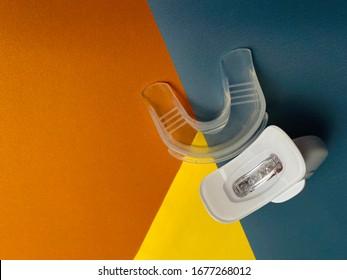 LED teeth whitening kit. Teeth ultraviolet whitening lamp. Whitening mouth tray.