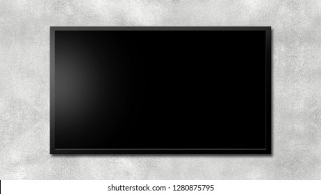Led tv or blackboard on gray concrete wall